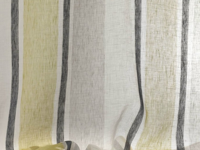 Striped washable linen fabric for curtains LINDOS by Dedar