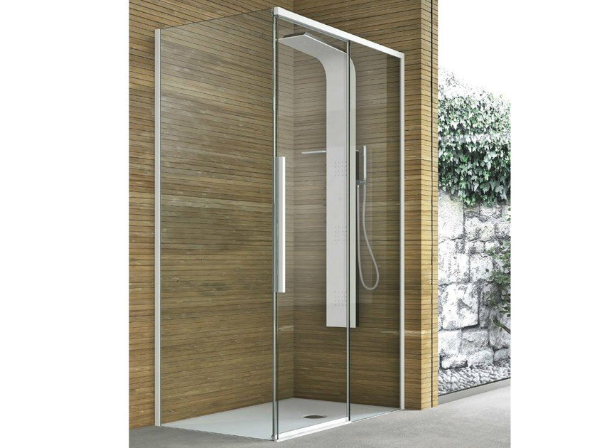 Corner shower cabin with one fixed panel and one sliding TOP | Corner shower cabin by Gruppo Geromin