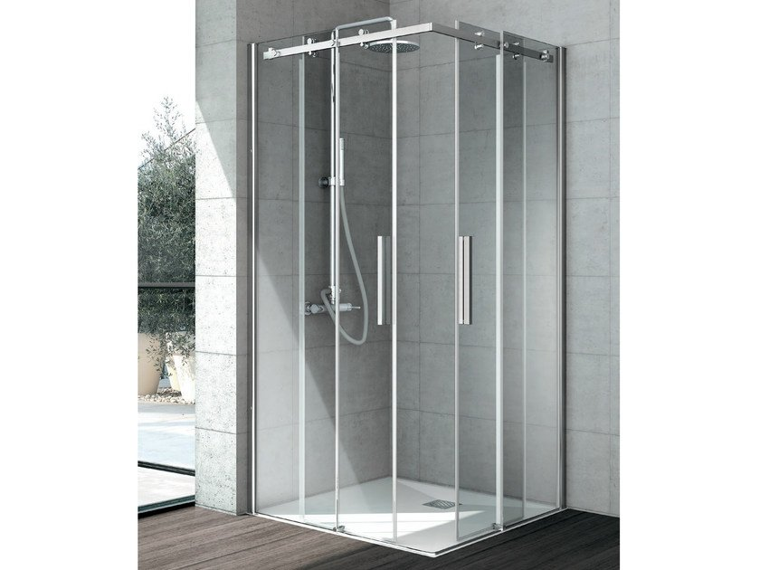 Corner crystal shower cabin with sliding door FLOW | Shower cabin by Gruppo Geromin