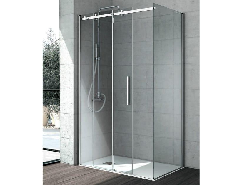 Corner crystal shower cabin with sliding door FLOW | Corner shower cabin by Gruppo Geromin