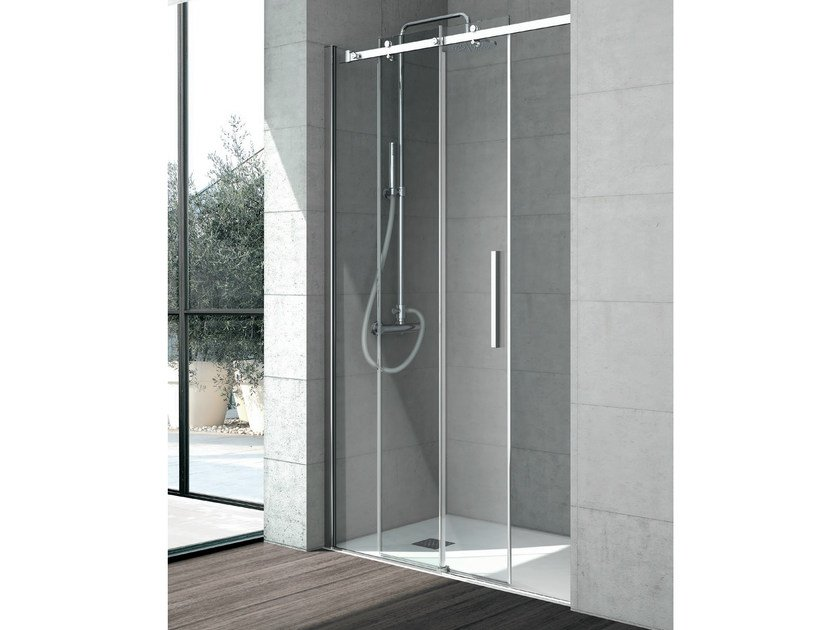 Crystal shower cabin with sliding door FLOW | Crystal shower cabin by Gruppo Geromin