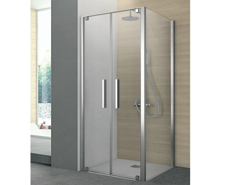 Corner shower cabin with one saloon door and one fixed side PIVOT by Gruppo Geromin