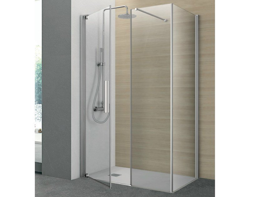 Crystal shower cabin with pivot door PIVOT | Rectangular shower cabin by Gruppo Geromin