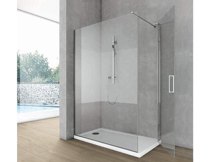Crystal shower wall panel with lateral entry SIDE 4 by Gruppo Geromin