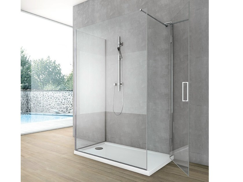 Crystal shower cabin with hinged door SIDE 6 by Gruppo Geromin