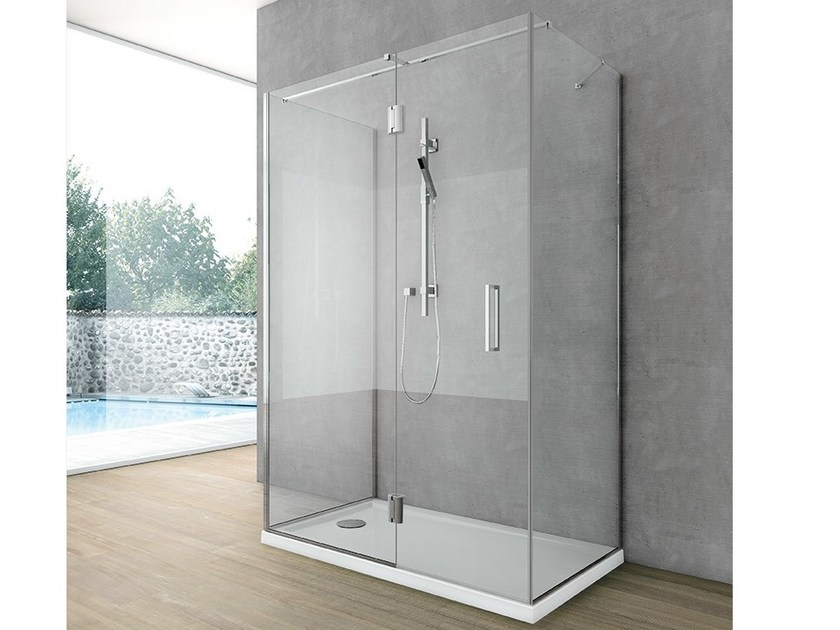 Crystal shower wall panel with frontal entry SIDE 7 by Gruppo Geromin