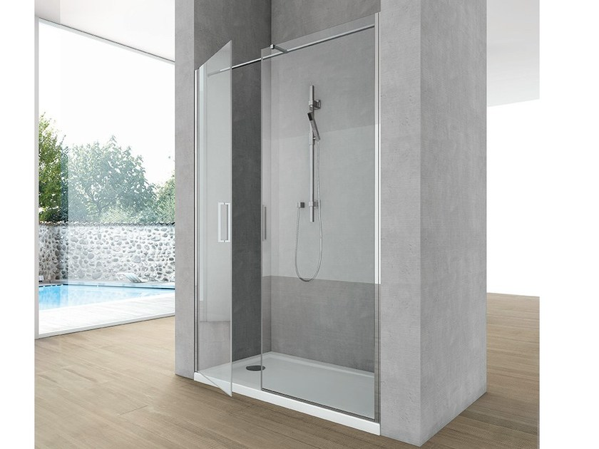 Niche shower cabin with hinged door SIDE 8 by Gruppo Geromin