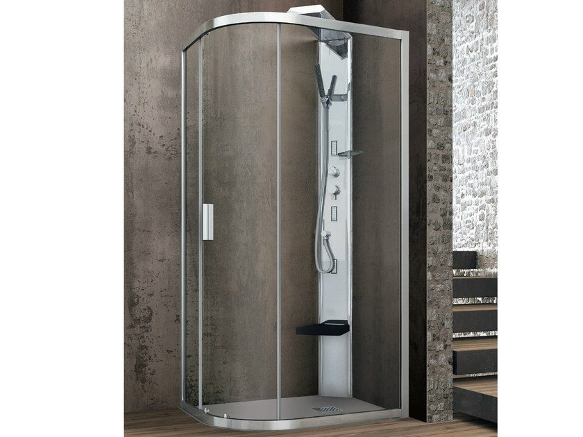 Semi-quadrant crystal shower cabin with one sliding door ASTER-T | Corner shower cabin by Gruppo Geromin