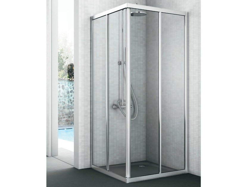 Corner crystal shower cabin with two sliding doors EASY | Shower cabin by Gruppo Geromin