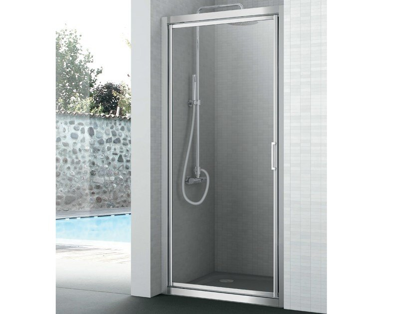 Crystal shower cabin with one shutter door EASY | Shower cabin by Gruppo Geromin