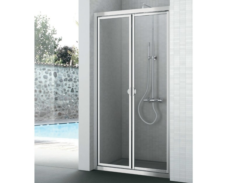 Crystal shower cabin with two shutter doors EASY | Shower cabin with hinged door by Gruppo Geromin