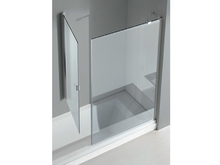Bathtub wall panel with fixed panel and door SIDE by Gruppo Geromin