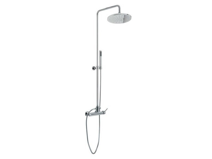 Wall-mounted shower panel with hand shower with overhead shower Shower panel by Gruppo Geromin