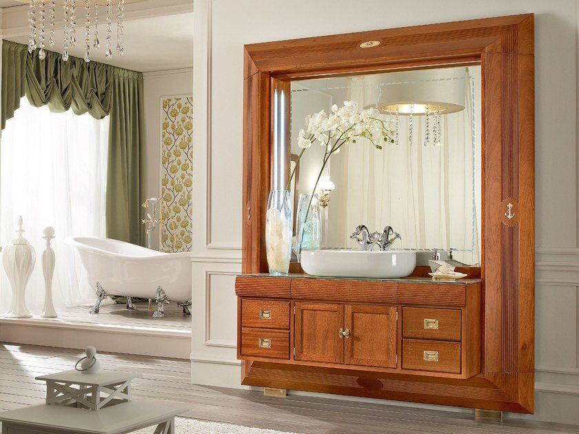 Tall wooden bathroom cabinet with doors with storage FRAME | Bathroom cabinet by Caroti