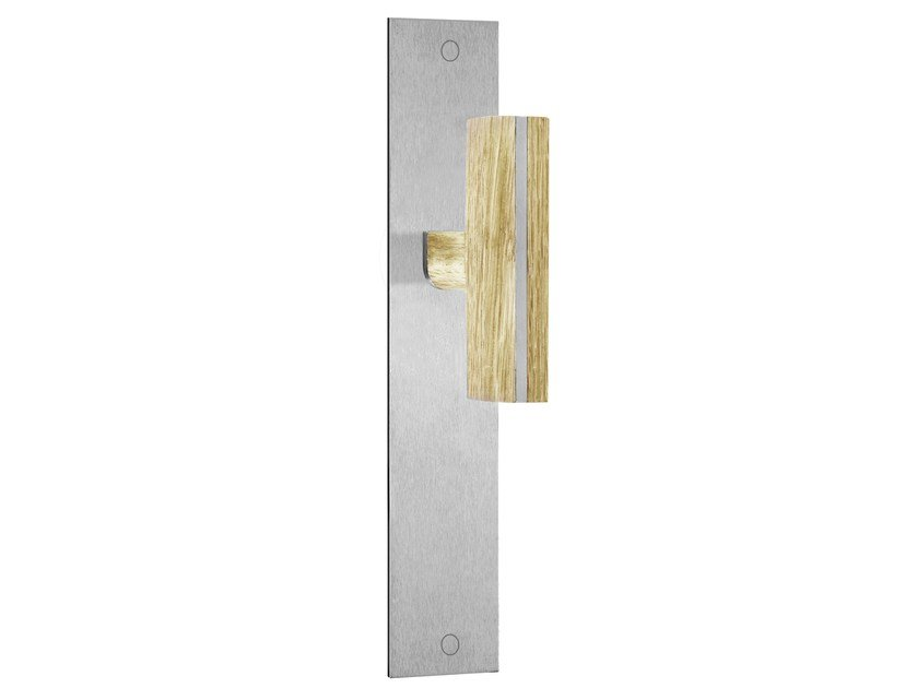 Stainless steel door handle on back plate TWO | Stainless steel and wood door handle by Formani