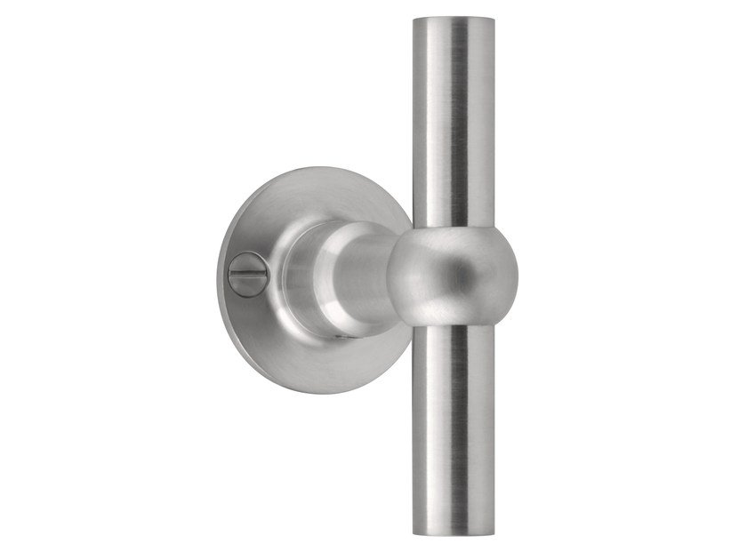 Stainless steel door handle on rose FERROVIA | Door handle on rose by Formani