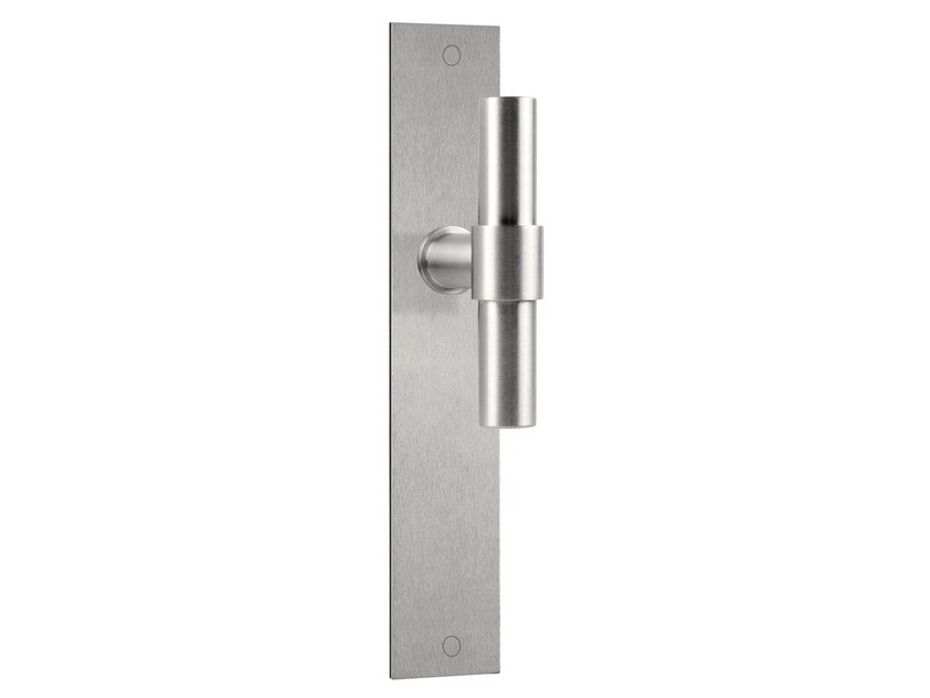 Stainless steel door handle on back plate ONE   Door handle on back plate by Formani