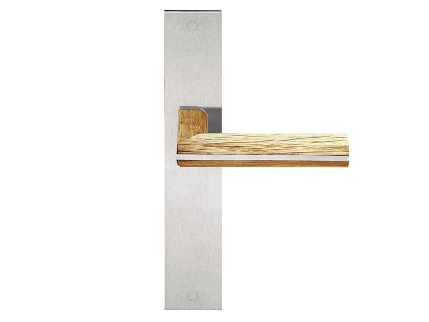 Stainless steel and wood door handle on back plate TWO | Door handle on back plate by Formani
