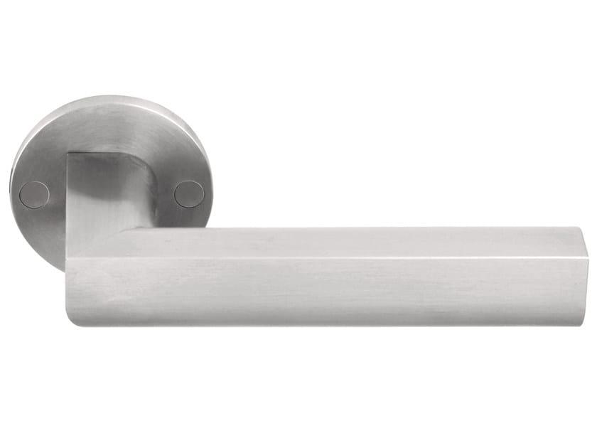 Stainless steel door handle on rose TWO | Stainless steel door handle by Formani