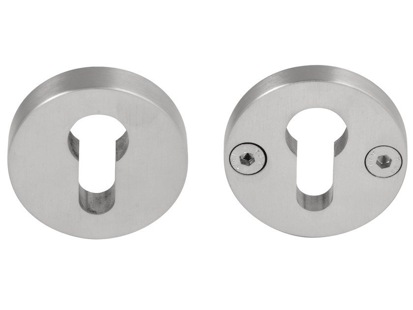 Round stainless steel keyhole escutcheon TWO | Round keyhole escutcheon by Formani