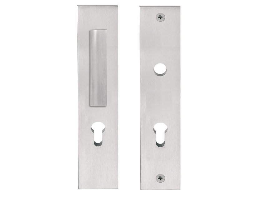 Stainless steel Exterior Door Handle on back plate TWO | Exterior door handle by Formani