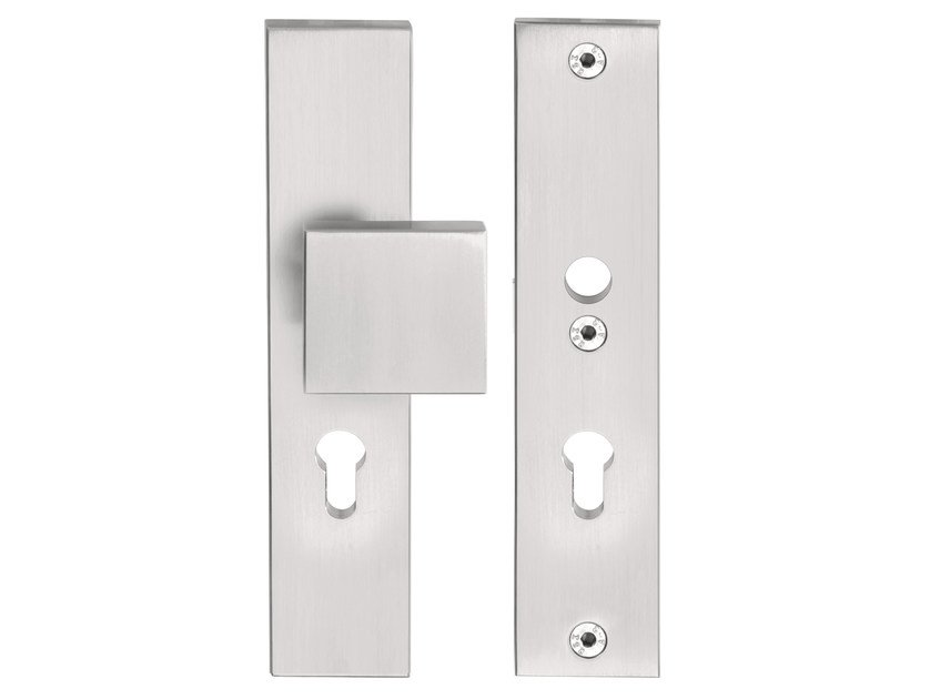 Stainless Steel Door Knob With Lock On Back Plate SQUARE | Door Knob On  Back Plate