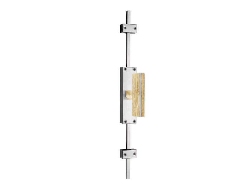 Stainless steel and wood Cremone espagnolette bolt TWO | Cremone handle on back plate by Formani