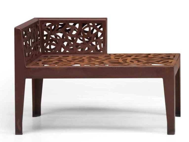 Admirable Color Corten Style Garden Bench By Metalco Design Ncnpc Chair Design For Home Ncnpcorg