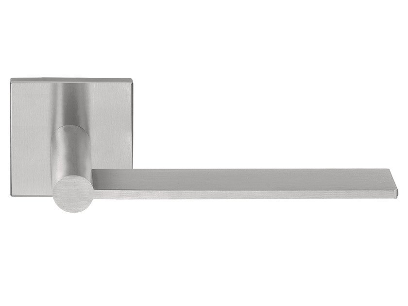Stainless steel door handle on rose EDGY   Door handle by Formani
