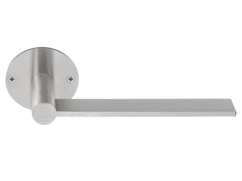 Stainless steel door handle on rose EDGY | Door handle on rose by Formani