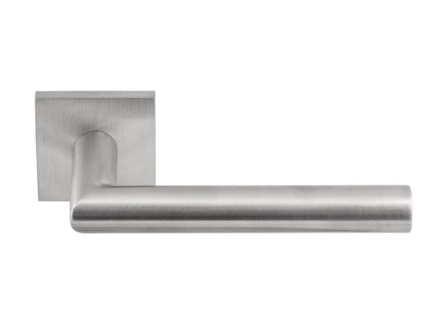 Stainless steel door handle on rose BASIC | Door handle on rose by Formani