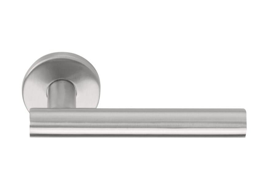 Stainless steel door handle on rose BASIC   Door handle on rose by Formani
