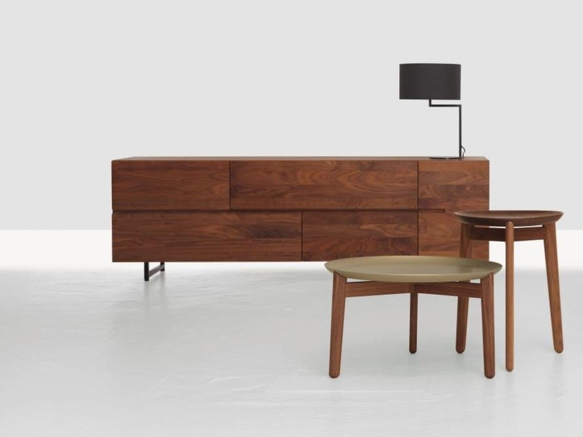 Wooden sideboard with doors with drawers LOW by ZEITRAUM