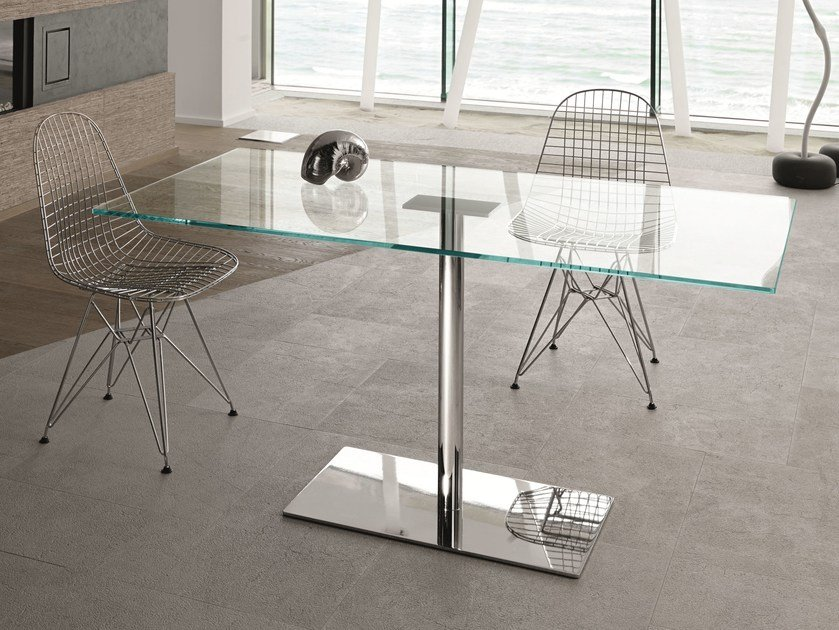 Rectangular tempered glass table FARNIENTE ALTO | Rectangular table by Tonelli Design