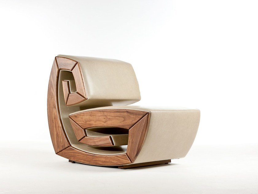 Upholstered wooden armchair LIU by Sedes Regia