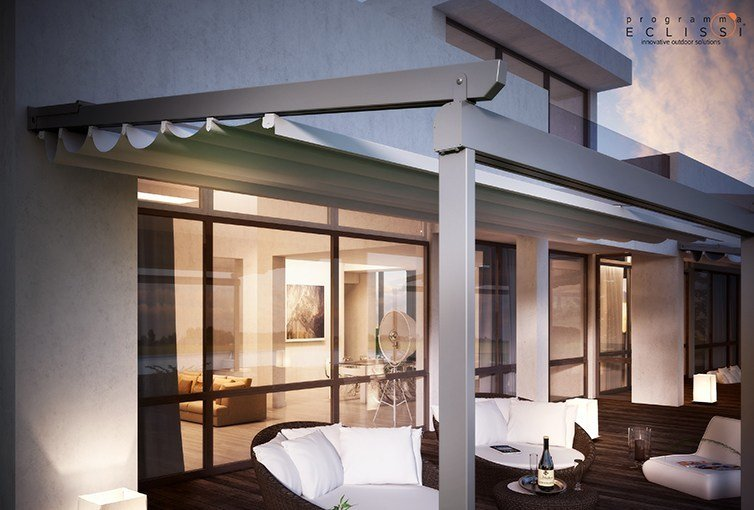 Wall-mounted pergola with sliding cover COMPAKT by DIRELLO