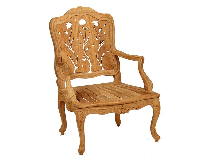 Teak garden chair with armrests CHÈVREFEUILLE | Chair with armrests by ASTELLO