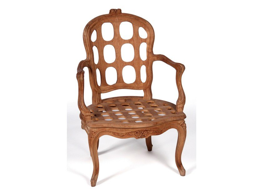 Teak garden chair with armrests PIVOINE | Chair with armrests by ASTELLO