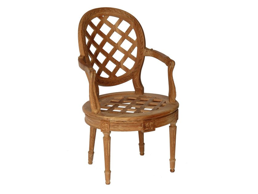 Teak garden chair with armrests BOUTON D'OR   Chair with armrests by ASTELLO