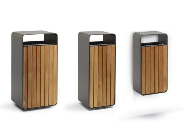 Wooden litter bin with ashtray BOX WOOD by Metalco