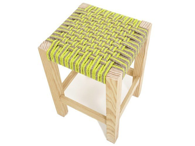 Low pine stool GUARANI | Low stool by Darono