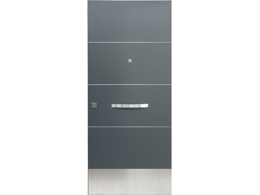 Stainless steel and wood armoured door panel TRACCE (S703) by OMI ITALIA