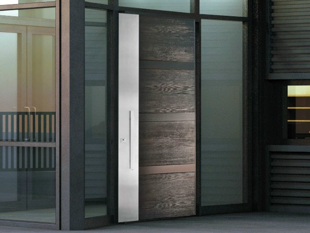 Stainless steel and wood armoured door panel STEEL LEGNO (S711) by OMI ITALIA