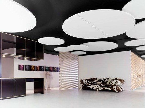 Glass wool acoustic ceiling clouds Ecophon Solo™ Circle by Saint-Gobain ECOPHON
