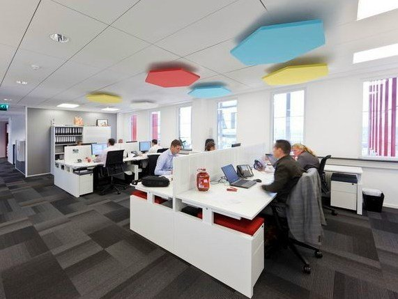 Glass wool acoustic ceiling clouds Ecophon Solo™ Hexagon by Saint-Gobain ECOPHON