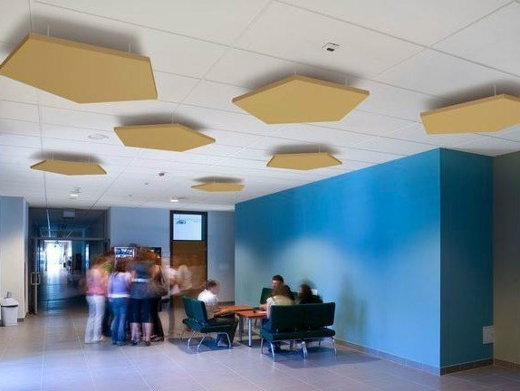 Glass wool acoustic ceiling clouds Ecophon Solo™ Pentagon by Saint-Gobain ECOPHON