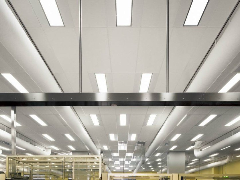 Sound absorbing glass wool ceiling tiles for healthcare facilities Ecophon Hygiene LabotecAir™ A C1 by Saint-Gobain ECOPHON