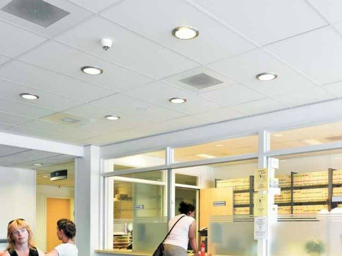 Sound absorbing ceiling tiles for healthcare facilities Ecophon Hygiene Clinic™ E C1 by Saint-Gobain ECOPHON