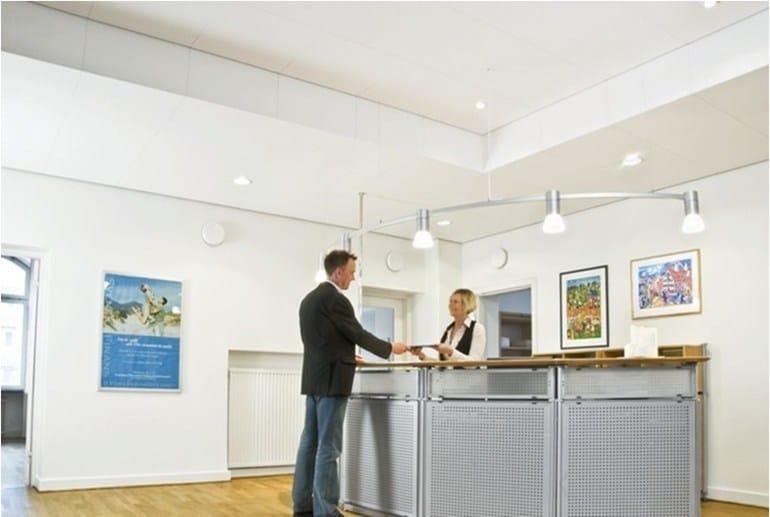Sound absorbing glass wool ceiling tiles Ecophon Focus™ Fixiform Ds by Saint-Gobain ECOPHON