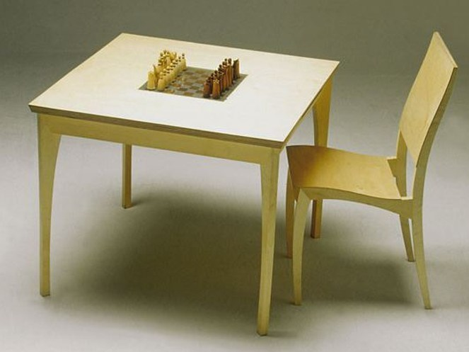 Square wooden chess table GRASSHOPPER | Game table by sixay furniture